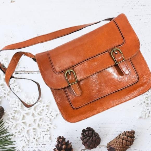 Vintage Handbags - Vintage Marforio Cognac Italian Leather Bag